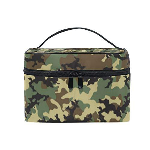 Trousse de Maquillage Bigjoke - Imprimé Camouflage - Sac de Voyage Portable - Grand Sac à Maquillage - Organiseur avec Compartiments pour Filles et Femmes