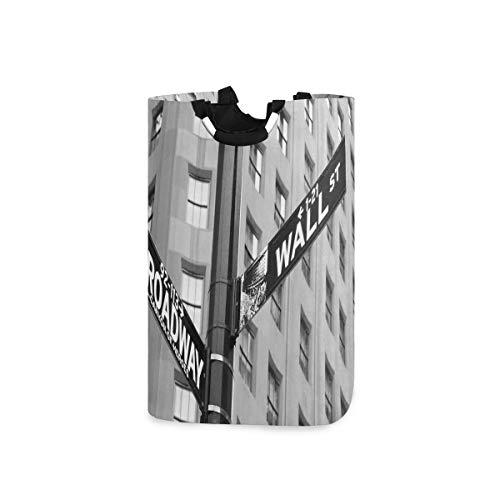 ZOMOY Multifunktionale Faltbarer Schmutzige Kleidung Wäschekorb,Schwarzweiss Broadway NYC Fotodruck,Household Wäschebox Spielzeug Organizer Aufbewahrungsbeutel mit Henkel