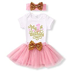 Pink 1st Birthday Shiny Printed Sequin Bowknot Tutu Dress