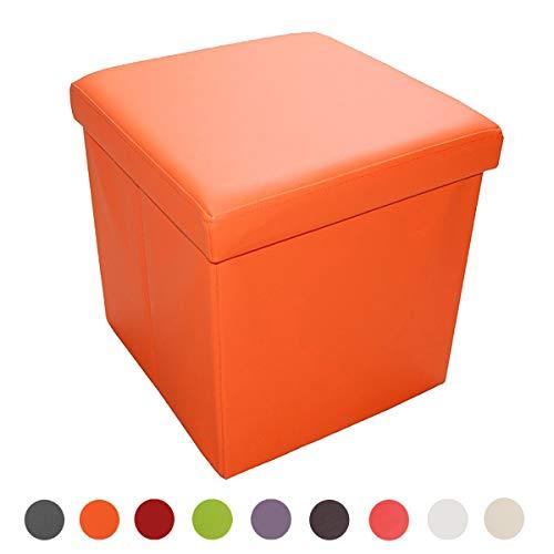 Style home Sitzhocker Sitzbank faltbar Fußhocker Aufbewahrungsbox mit Stauraum Sitzcube belastbar bis 300 kg, Kunstleder, 38 x 38 x 38 cm (Orange)