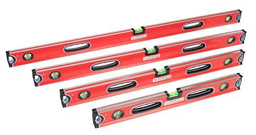 Profi Wasserwaagen-Set 4-teilig Rot 60, 80, 100 und 120cm mit zwei stoßfesten Blocklibellen und stoßdämpfenden Gummiendkappen