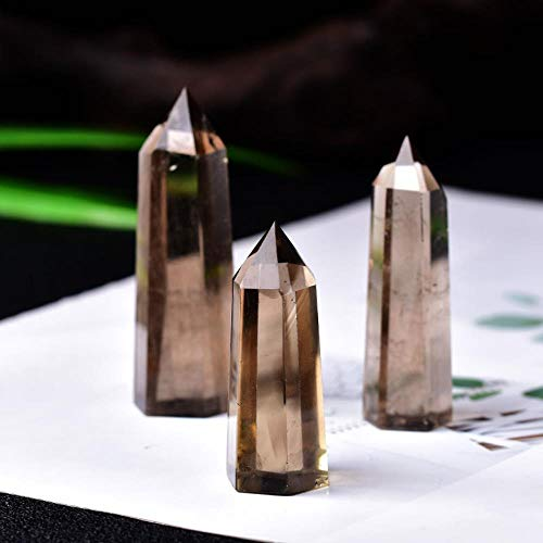 1Pc Natural Quartz Tea Crystal Point Healing Smoky Stone Hexagonal Prisms Quartz Obelisk Wand Treatment Stone Diy Gift Reiki,61-70Mm