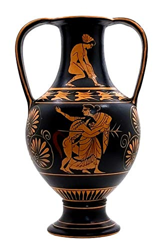Maenad & Satiro Attico Rosso Figura Anfora Antica Greca Vaso Louvre Replica