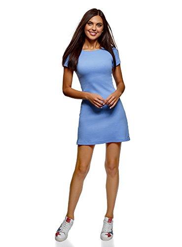 oodji Ultra Damen Kleid Basic mit Rundhalsausschnitt, Blau, DE 40 / EU 42 / L