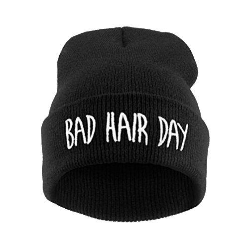 Joyci Winter Unisex Funny Bad Hair Day Hip Pop Beanie Hat Women Men Ski (Black)