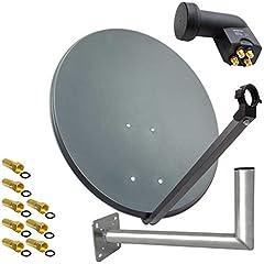 PremiumX SAT Appendix 80cm Antracit satellitantant stål parabol quad LNB vägghållare 45cm ALU 4TN 8 plugg