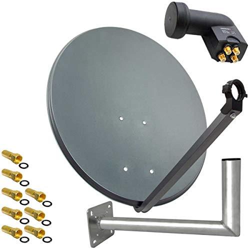 PremiumX SAT Anlage 80cm Anthrazit Satellitenantenne Stahl Satellitenschüssel Quad LNB Wandhalter 45cm ALU 4TN 8 Stecker