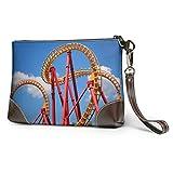 Hdadwy Roller Coaster d'embrayage en cuir souple imperméable doux dans un bracelet de portefeuille en cuir drôle avec fermeture à glissière pour femmes filles