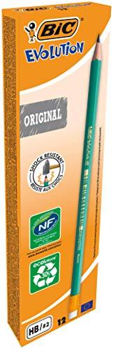 BIC Bleistift Evolution Original 655 HB mit Radierer, Schachtel à 12 Stück, grün