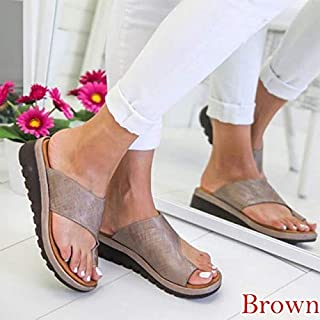 MZZDENX Brand Women Leather Shoes Comfy Platform Flat Sole Ladies Casual Soft Big Toe Foot Sandals Orthopedic Bunion Corrector 38 Brown