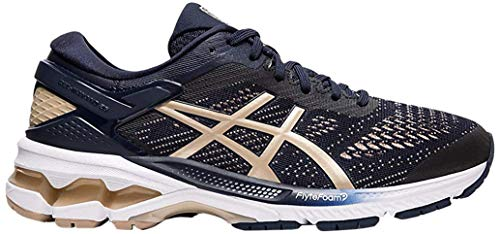 ASICS Women's Gel-Kayano 26 Running Shoes, 10M, Midnight/Frosted Almond