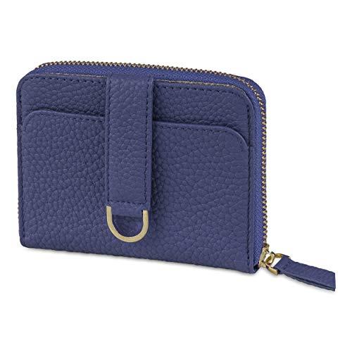 Vaultskin BELGRAVIA - Portafoglio da donna con chiusura a zip, piccolo RFID, Blu opaco. (Blu) - CWBLGRMN-UK