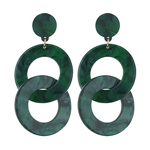 Damen Ohrringe Hypoallergen OhrhäNger AnhäNger Ohrringe Geschenke Schmuck Mode PersöNlichkeit Kreative Acryl Geometrische Ohrringe Grün