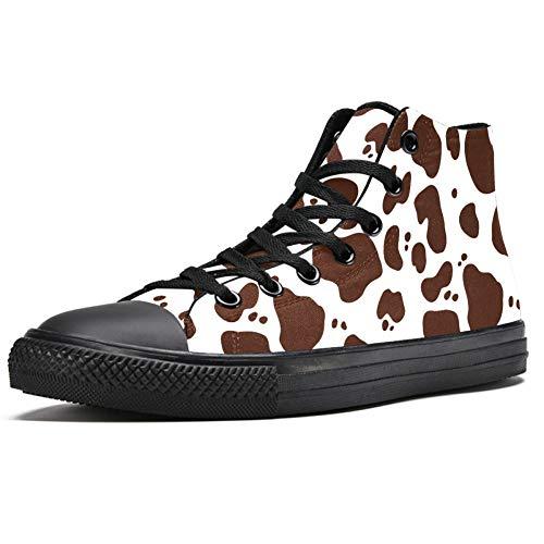Zapatillas altas para hombre, piel de vaca marrón con estampado de animales, con cordones, (Multi color), 41 EU
