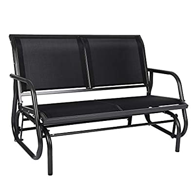 2 Seats Outdoor Swing Glider, Garden Loveseat Seating Patio Swing Glider Rocking Bench Chair for 2 Person