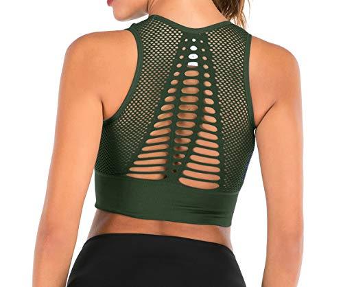 High Impact Nahtloser Sport-BH für Frauen, Rückenausschnitt abnehmbar, gepolstert, Yoga, Belüftung, Crop Tank Tops - Grün - X-Large