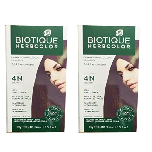 Biotique 2 Herbcolor Conditioning No Ammonia Hair Color with 9 Organic Herbal Extracts (Brown, 50 g and 110 ml)