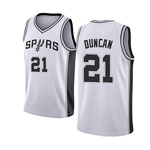 Camiseta sin Mangas de Baloncesto-Spurs 21# Tim Duncan Camiseta del Equipo de Baloncesto Camiseta Vintage para Hombres Tela Transpirable Fresca-White-S
