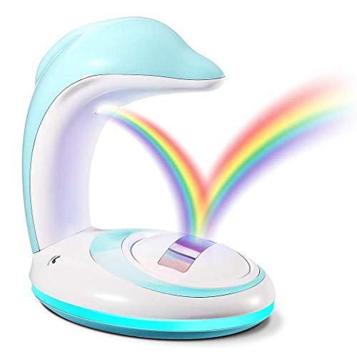 Regenbogen Projektor, CrazyFire Ideales Kinder Nachtlicht, Wiederaufladbares LED Regenbogenlicht Besser Schlafen für Kinder - Delphin (USB Powered)