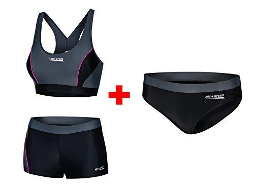 Aqua Speed Damen Bikini Set + Bikinihose   Zweiteiler Bustier Hose   Zweiteiliger Damenbadeanzug   2Piece Swimsuit   Bademode für Frauen Mädchen   Gr. 38, 139 Black - Gray - Pink   Fiona