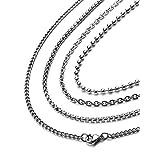 [Freate] ステンレス製ネックレスチェーン4本セット メンズ あずき、喜平、ベネチアン、ボール (幅2ミリ, 50センチ)
