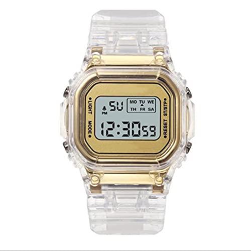 Libartly Relojes De Moda Hombres Mujeres Transparente Digital Impermeable Cronógrafo Deportivo Reloj Electrónico Multifuncional - Oro