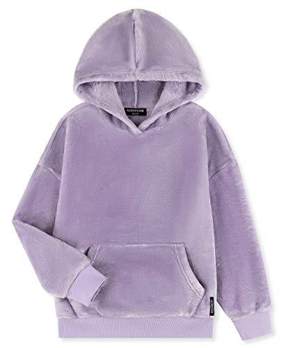 ALWAYSONE Girls Oversize Sweatshirt Soft Sherpa Pullover Fluffy Coat with Pocket Fuzzy Fleece Hoodie 3-12 Years (Lavender-m)