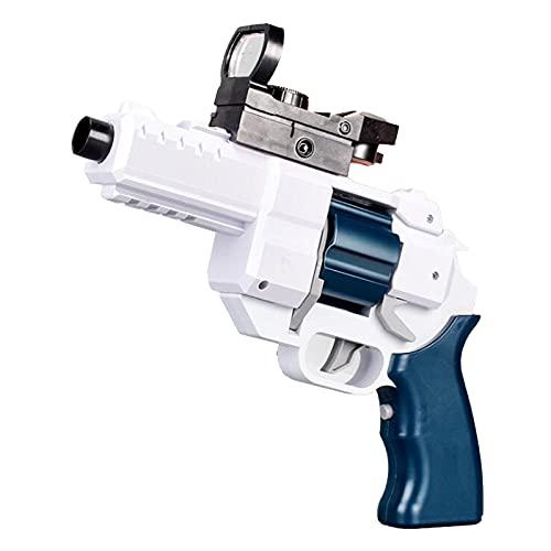 Pistola de Espuma de Juguete, Juguete Revólver Eléctrico con Bomba Blanda de 30 Lechones, Rango de Tiro de 10-15 M, Niños,White