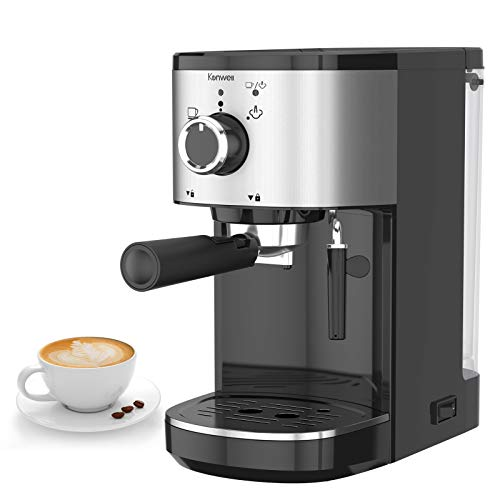 Kenwell Espresso Machine with Portafilter, 15 Bar Coffee Machine for Espresso, Cappuccino and Latte Machiato, 1450W High Performance Stainless Steel Coffee Machine (EU to UK Plug Adaptor Needed)