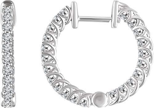 14K White Gold 1 ctw Diamond Hoop Earrings
