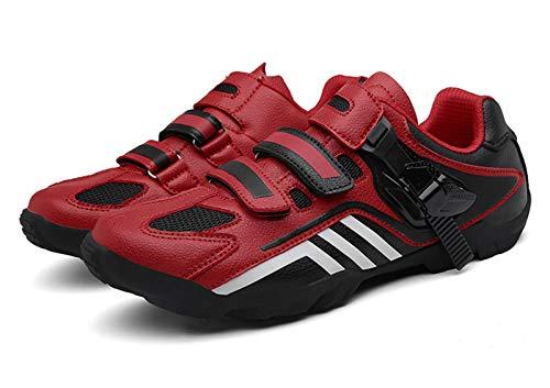 Sebasty Zapatillas de Ciclismo Sin Candado para Hombre,Zapatillas de Ciclismo MTB Zapatillas de Ciclismo Sin Candado,Zapatillas de Bicicleta de Carretera,Zapatillas de Ciclismo,Red-48