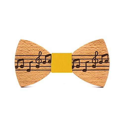 Territorial Pajarita de madera Pentagram. Colección de moda hombre: Confeccionada en España Wood. Línea boda y eventos. Regalo elegante y original. Pentagrama música. Nudo a elegir