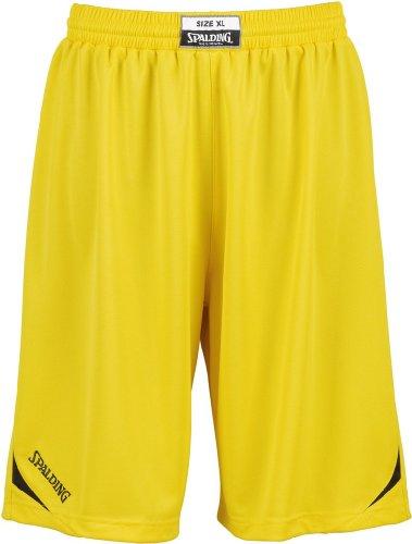 Spalding Attack Shorts - Pantalones Cortos de Baloncesto para Hombre, Color Amarillo/Negro, Talla XXXL