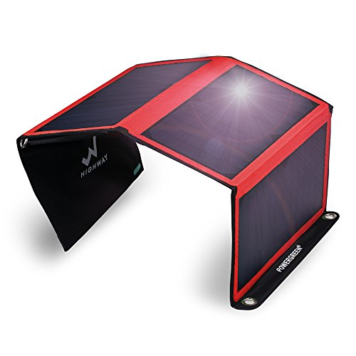PowerGreen Solar Charger with Dual USB 21W Foldable SunPower High Efficiency Outdoor Solar Panel for Cell Phones and All 5V Digital Devices(Red)