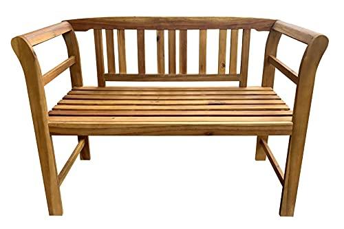 SAM 2-Sitzer Gartenbank Rosa, Akazienholz massiv + geölt, Holzbank für Garten und Balkon, Sitzbank 123 x 63 x 82 cm, pflegeleichtes Unikat