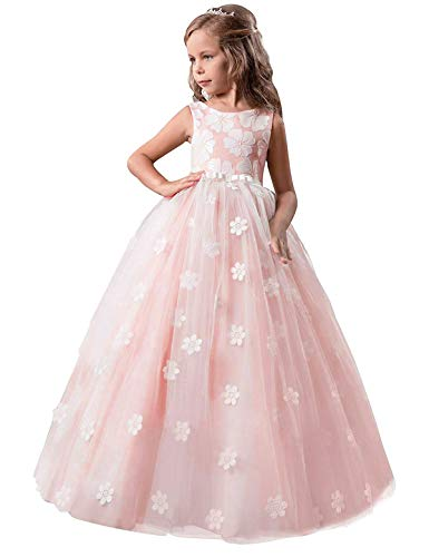NNJXD Mädchen-Kind-Ballkleid Tulle Prinzessin Hochzeit Partei-Abschlussball-Kleid-Größe (140) 8-9...