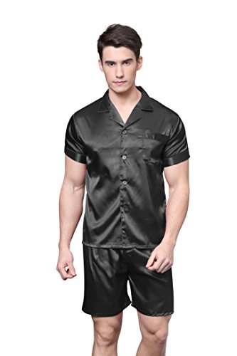 TONY AND CANDICE Men's Short Sleeve Satin Pajama Set with Shorts