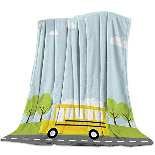 Manta de Franela para Tiro de autobús Árboles, Manta de Cama de Lana Ligera, decoración de Dibujos Animados, Manta Suave y cálida, para Todas Las Estaciones, sofá/sofá/Silla para niños y Adultos