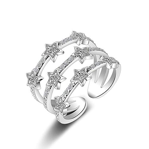 Anelli Aperti Per Le Donne Hot Fashion Multi-Layer Cz Zirconia Star Anelli Regolabili Per Le Donne Anelli Ridimensionabili Regali Argento