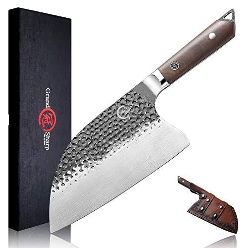 Full TangButcher Knife Handmade Forged Kitchen Chef Knife Grandsharp Pro Razor Sharp Serbian Clad Steel Meat Vegetable Chopping Cutting Cleaver