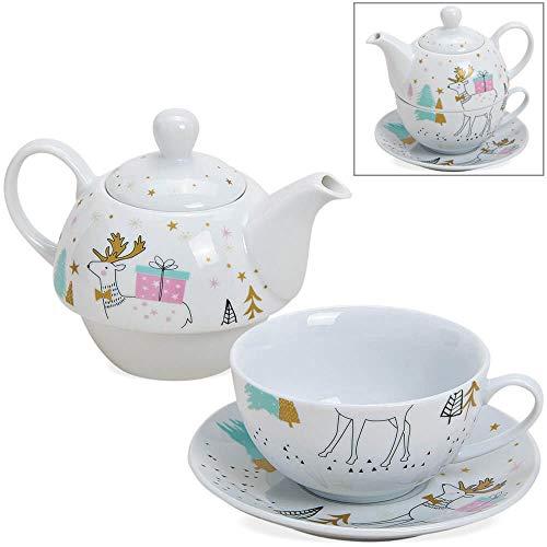 matches21 Tea for One Tee Geschenkset mit Hirsch & Geschenk weiß/bunt/Gold Porzellan - Teekanne, Tasse & Teller