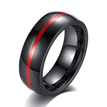 REVEMCN 8mm Black Stainless Steel Thin Line Polished Finish Wedding Band Ring for Men Women 4 Color  Red 8