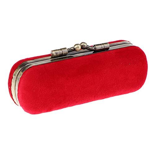 Homyl Etui de Rouge à Lèvres avec Mirror Vintage Broderie Floral Lipstick En Flanelle Importée Portable Petit Case de Maquillage - Rouge