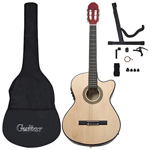 UnfadeMemory Set de Guitarra Occidental para Principiantes y Aficionados 12 Pzas,con EQ de 4 Bandas(Ecualizador) y 6 Cuerdas,Madera de Tilo,Escala 65cm,4 4 (39 ) (Madera Claro)