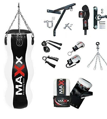 Maxx BlackWhite 4FT Triple body bag uppercut bag punch bag angled boxing bag free chain punching bag set BAG WITH CEILING HOOK MITTS