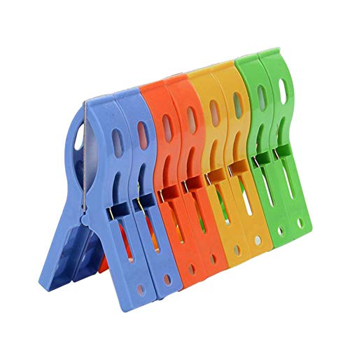 Polytree 8Pcs Beach Towel Clips Plastic Windproof Clothes Hanging Peg Plastic Quilt Clips Large Beach Towels Quilt Clamp Holder Sunbed Peg Sunbed Pool