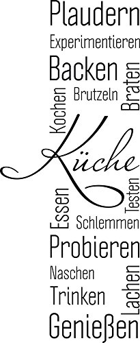 GRAZDesign Wandtattoo Küche Plaudern Backen Genießen -Banner Wand-Worte für Esszimmer Restaurant Wand-Deko (73x30cm / 070 schwarz)