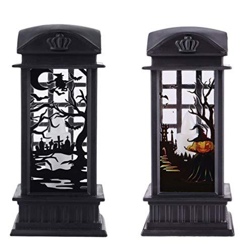 Uonlytech 2 Stück Beleuchtete Wasserlaterne Halloween Schneekugel Kerzenlampe Nachtlicht Halloween Prop Dekoration für Halloween Party