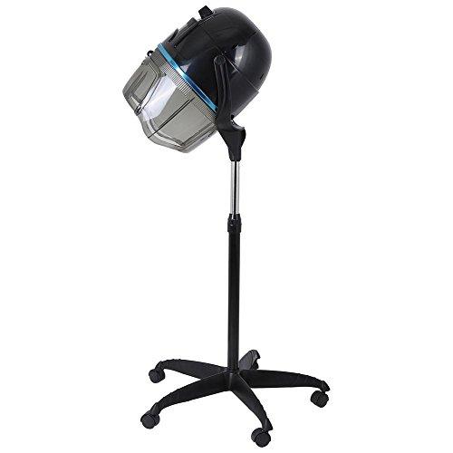 Casco Asciugacapelli parrucchieri cappuccio asciugatrice per Barbiere Salone,Timer Regolabile Temperatura rotolamento,1000W,nero