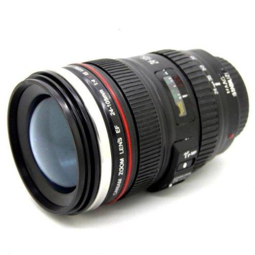 Copa Creativo lente de la cámara SLR Café Té Taza del viaje de acero inoxidable termo